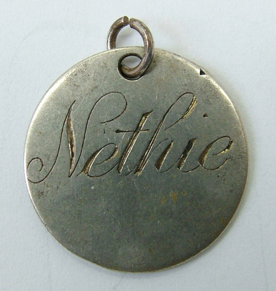 Antique Victorian Silver Engraved Love Token Coin Charm NETHIE Love Token - Sandy's Vintage Charms