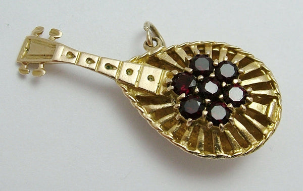 Very Large Vintage 1960's 9ct Gold Mandolin Charm Set with 7 Real Garnets Gold Charm - Sandy's Vintage Charms