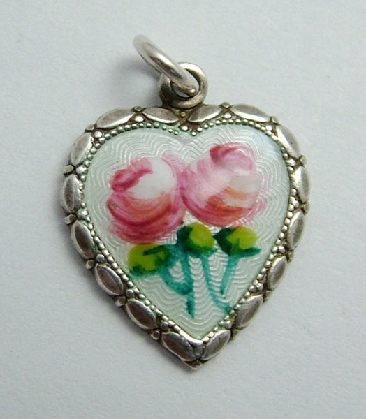 Vintage 1950's Silver & Enamel Heart Charm with Pink Roses Enamel Charm - Sandy's Vintage Charms