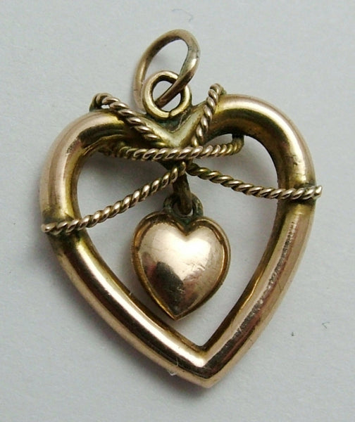 Antique Victorian 9ct Rose Gold Heart within a Heart Charm & Twisted Rope Decoration Antique Charm - Sandy's Vintage Charms
