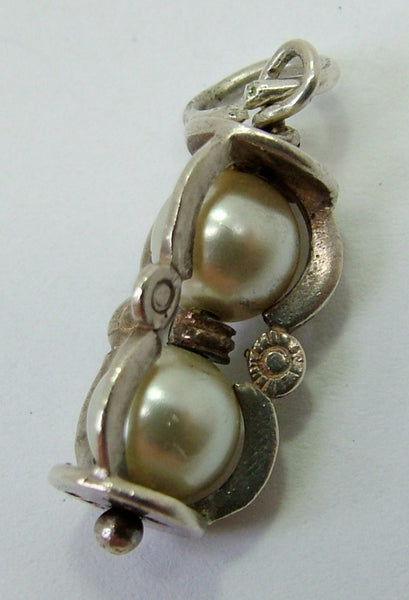 1970's Silver Hourglass Egg Timer Charm with Faux Pearls Silver Charm - Sandy's Vintage Charms