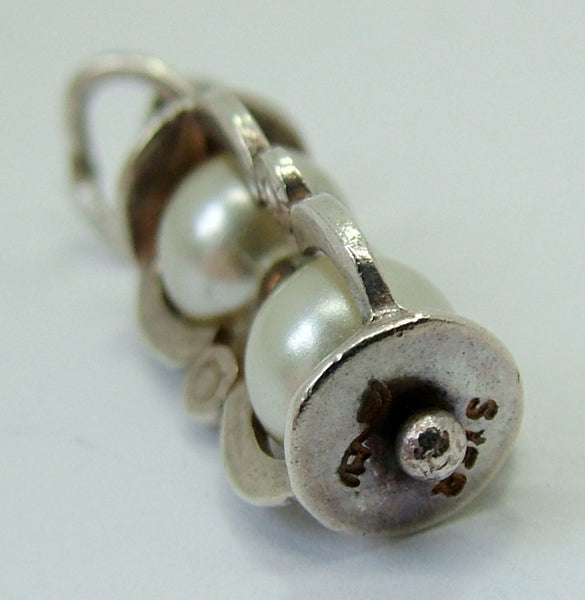 1970's Silver Hourglass Egg Timer Charm with Faux Pearls - Sandy's Vintage Charms