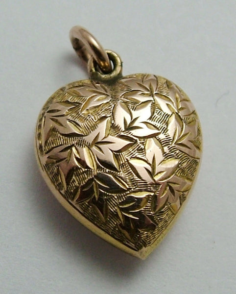 Antique Edwardian 9ct Rose Gold Puffy Heart Charm with Ivy Leaves HM 1901 Antique Charm - Sandy's Vintage Charms