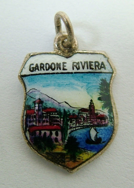 1960's Silver Plated & Enamel Shield Charm for GARDONE RIVIERA in Italy Shield Charm - Sandy's Vintage Charms
