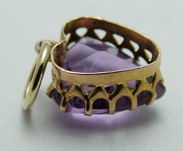 Tiny Antique Victorian 9ct Gold & Faceted Amethyst Heart Charm Antique Charm - Sandy's Vintage Charms