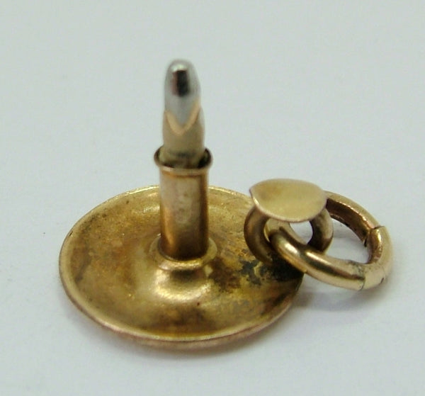 1940's Gold Plated Candle in a Holder Charm 1920s-1950s Charm - Sandy's Vintage Charms