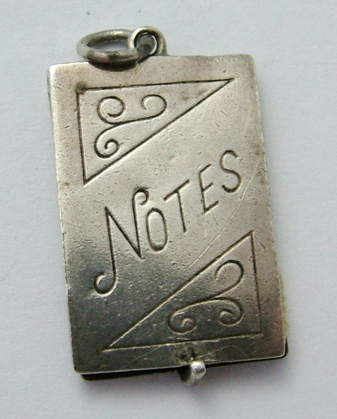 Vintage 1960's Silver Opening Notebook Charm - Paper Pages Inside Silver Charm - Sandy's Vintage Charms