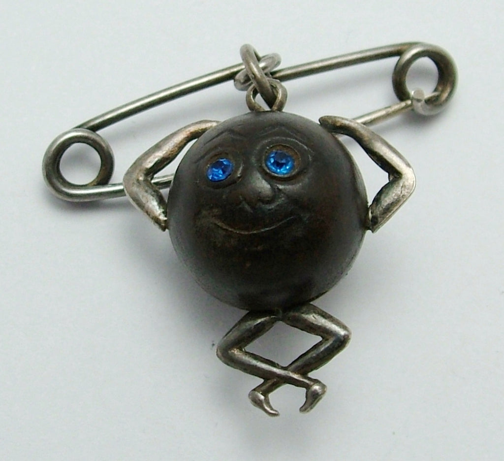 "Antique WWI Silver & Wood ""Touch Wood"" Figure Charm with Hanging Brooch Pin Antique Charm - Sandy's Vintage Charms"