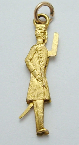 Antique c1900 Gilt Metal Military Soldier Charm with Moving Arm that Salutes Antique Charm - Sandy's Vintage Charms