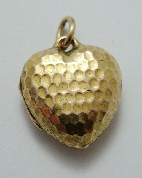 Antique Victorian 15ct Gold Heart Locket Charm with Honeycomb Decoration Antique Charm - Sandy's Vintage Charms