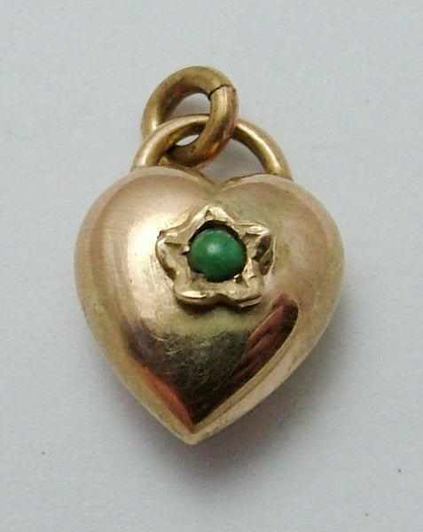 Small Antique Edwardian 9ct Rose Gold Puffy Heart Charm with Turquoise Flower Antique Charm - Sandy's Vintage Charms