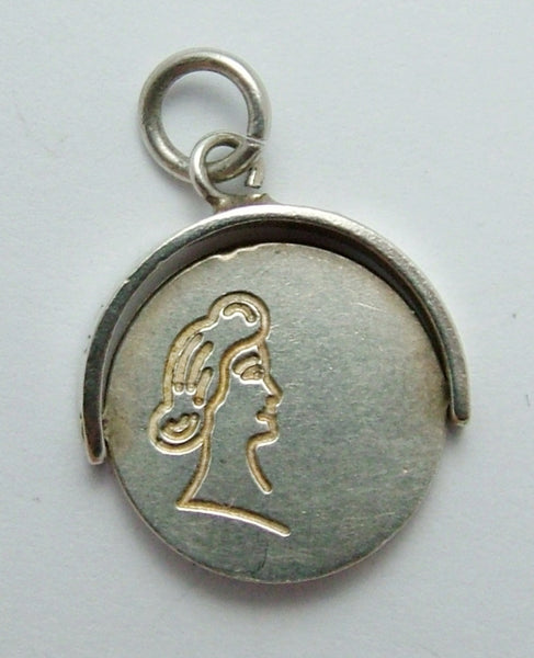 Vintage 1960's Silver Spinner Charm - Man & Woman Kissing Silver Charm - Sandy's Vintage Charms