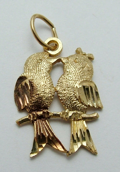 Vintage 1970's 9ct Gold Love Birds Charm Gold Charm - Sandy's Vintage Charms