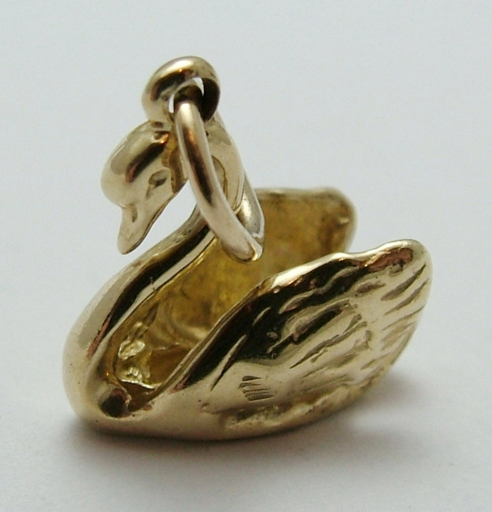 Modern Secondhand Solid 9ct Gold Swan Charm HM 2002 Gold Charm - Sandy's Vintage Charms