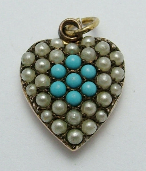 Antique Victorian Gold Plated Heart Charm Pavé Set With Faux Pearls & Turquoise Antique Charm - Sandy's Vintage Charms