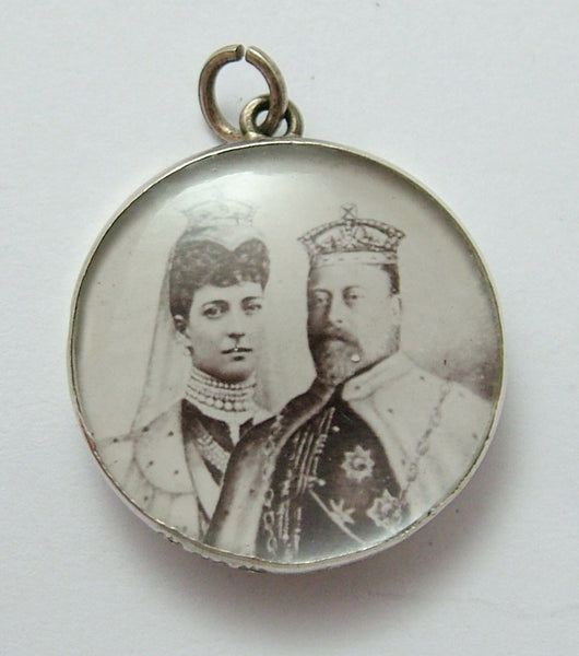 Antique Silver Edward VII Coronation Photo Locket Souvenir Charm HM 1901 Antique Charm - Sandy's Vintage Charms