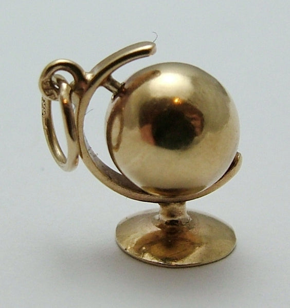Small Vintage 1950's Hollow 9ct Gold Moving Globe Charm Gold Charm - Sandy's Vintage Charms