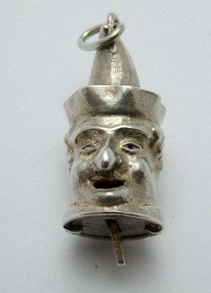 Large Vintage 1960's Silver Nuvo Punch Head Charm with Moving Tongue Nuvo Charm - Sandy's Vintage Charms