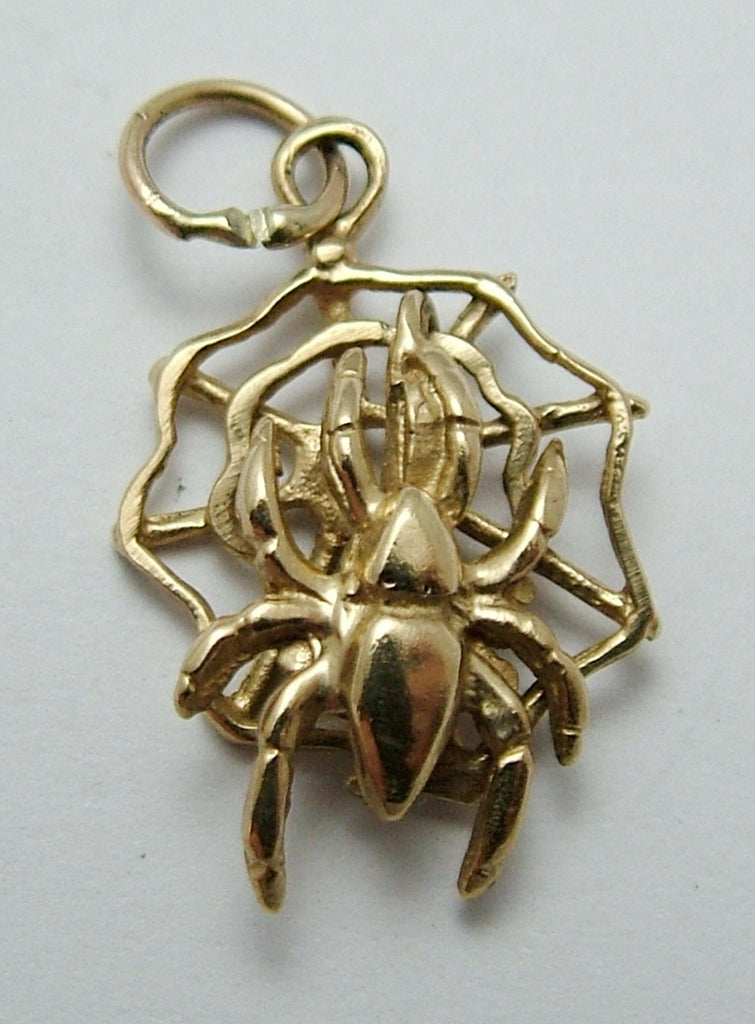 Modern Secondhand Solid 9ct Gold Moving Spider in a Web Charm HM 1993 Gold Charm - Sandy's Vintage Charms