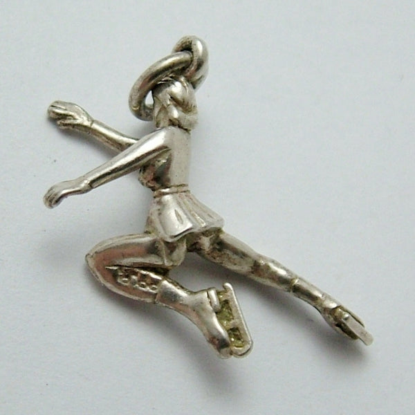 Vintage 1950's Solid Silver Lady Ice Skater Charm HM 1957 Silver Charm - Sandy's Vintage Charms