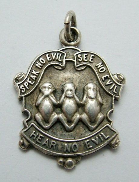 Antique Edwardian Silver Three Wise Monkeys Charm HM 1911 Antique Charm - Sandy's Vintage Charms