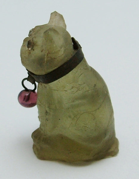 Antique c1910-1920's Pale Green Frosted Czech Glass Pug Dog Charm Antique Charm - Sandy's Vintage Charms