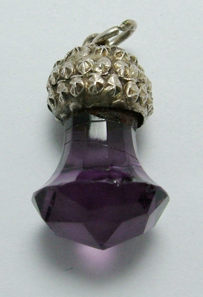 Edwardian c1905 Silver & Amethyst Glass Thistle Charm with Repousse Decoration Antique Charm - Sandy's Vintage Charms