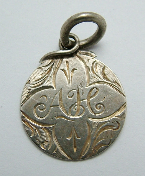Antique Victorian Silver Engraved Love Token Coin Charm AH Love Token - Sandy's Vintage Charms