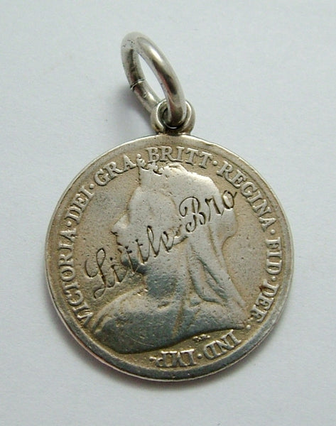 Antique Victorian Silver Engraved 1899 Love Token Coin Charm LITTLE BRO Love Token - Sandy's Vintage Charms