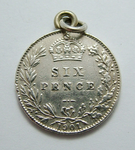 Antique Victorian Silver Engraved Love Token Coin Charm ROSE 1902 Love Token - Sandy's Vintage Charms