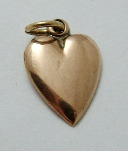 Small Antique Edwardian 9ct Rose Gold Flat Backed Heart Charm Antique Charm - Sandy's Vintage Charms