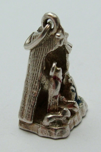 Vintage 1970's Silver Nativity Scene Charm with Mary, Joseph, Baby Jesus & Star Silver Charm - Sandy's Vintage Charms