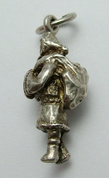 Vintage 1970's Solid Silver Father Christmas or Santa Claus Charm Silver Charm - Sandy's Vintage Charms