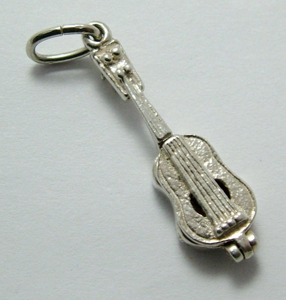 Vintage 1970's Silver Opening Nuvo Guitar Charm Music Notes Inside Nuvo Charm - Sandy's Vintage Charms