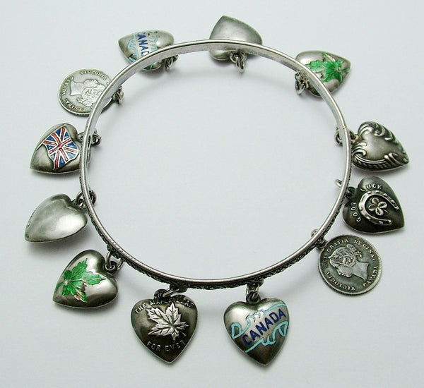Antique Victorian Canadian Silver & Enamel Puffy Heart Charm Bangle c1900