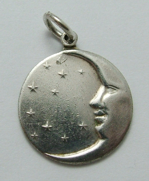 Vintage 1920's/30's Silver Plated Crescent Moon Face Disc Charm 1920s-1950s Charm - Sandy's Vintage Charms
