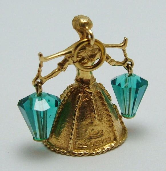 Vintage 1970's 9ct Gold & Teal Blue Crystal Nuvo Milk Maid Bell Charm Nuvo Charm - Sandy's Vintage Charms