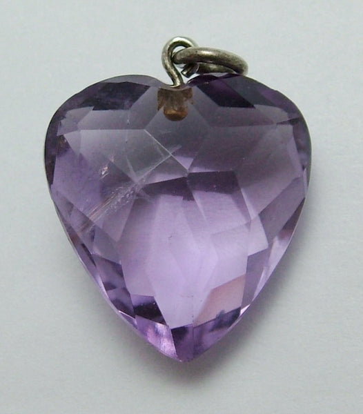 Antique Edwardian Carved Faceted Amethyst & Silver Heart Charm Antique Charm - Sandy's Vintage Charms