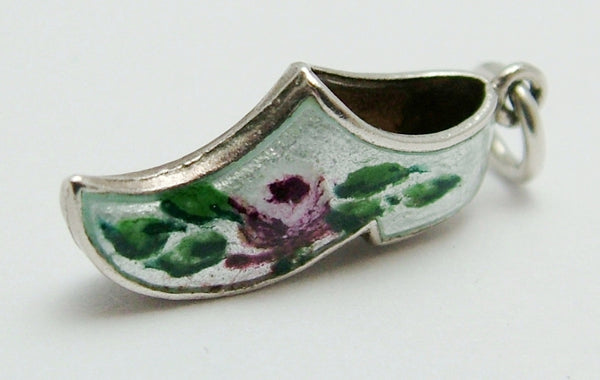 Vintage 1950's Silver & White Enamel Clog Charm with Purple Roses Enamel Charm - Sandy's Vintage Charms