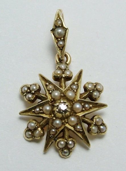 Antique Victorian c1890's 15ct Gold, Seed Pearl & Diamond Star Charm or Pendant Antique Charm - Sandy's Vintage Charms
