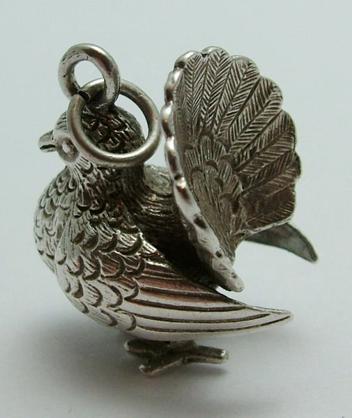 Large 1970's Silver Turtle Dove Charm Silver Charm - Sandy's Vintage Charms