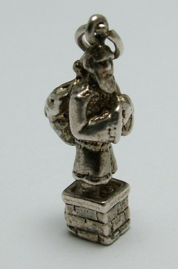 Vintage 1970's Solid Silver Father Christmas or Santa Claus Charm in a Chimney Silver Charm - Sandy's Vintage Charms