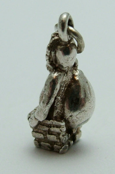 Vintage 1970's Solid Silver Charm Father Christmas or Santa Claus Stuck in a Chimney Silver Charm - Sandy's Vintage Charms