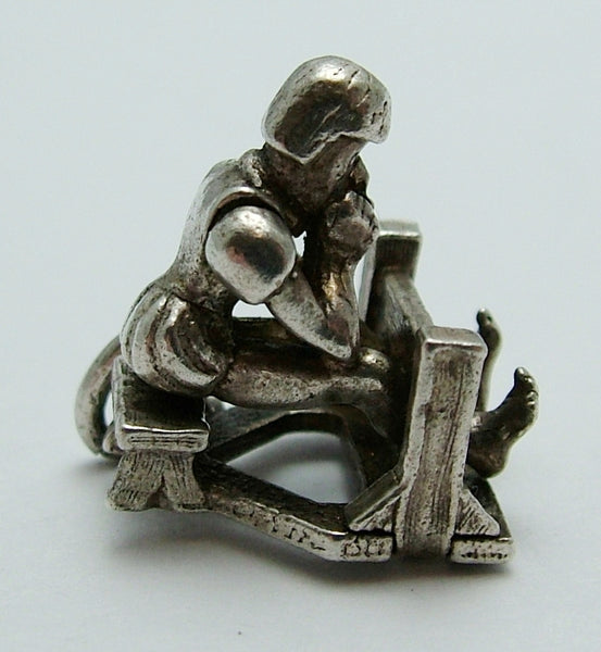 Vintage 1960's Silver Moving Charm of an Elizabethan Man in the Stocks