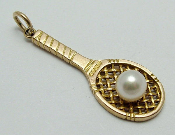 Large Vintage 1950's Solid 9ct Gold Tennis Racket Charm with Pearl Ball Gold Charm - Sandy's Vintage Charms