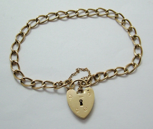 Vintage 1960's English Solid 9ct Gold Padlock Bracelet 7.5 Inches Long & 7g Bracelet - Sandy's Vintage Charms