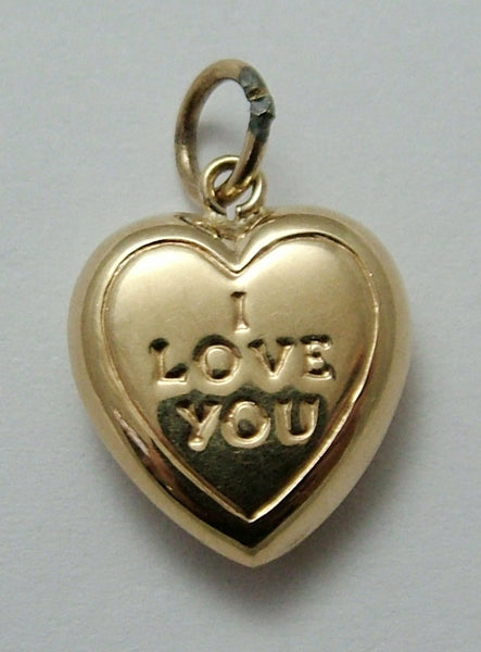 "Vintage 1960's 9ct Gold Puffed ""I LOVE YOU"" Heart Charm Gold Charm - Sandy's Vintage Charms"