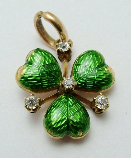 Antique Victorian c1900 15ct Gold, Green Enamel & Diamond Clover or Shamrock Charm Antique Charm - Sandy's Vintage Charms