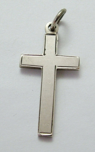 "Vintage 1930's Solid Silver Cross Charm Engraved ""XMAS 1935"" 1920s-1950s Charm - Sandy's Vintage Charms"