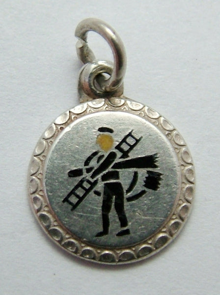 Vintage 1930's Silver & Enamel Lucky Chimney Sweep Charm